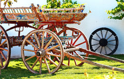 Garden decoration. Cart with beautiful flowers closeup Stock Images