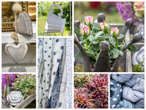 Garden decoration. Collage with garden decoration and fabrics Stock Photography