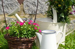 Garden decoration flower pot Stock Photo
