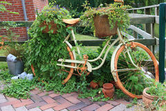 Garden decoration with a old bike. Stock Image