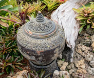 Garden decoration by pottery jar, pottery pitcher Stock Images