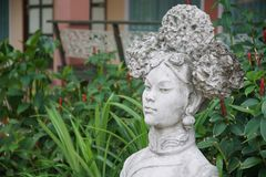 Garden and decorted stone chinese female statue stock photos