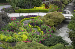 Garden design. A beautiful garden in Queen Elizabeth Park, Vancouver, Canada Stock Photos