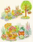 Garden design of flower beds with ornamental flowe. Watercolors hand painted pictures of garden design of flower beds with ornamental flowerpots, hanging on the Royalty Free Stock Image