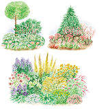 Garden design of flowered beds. Watercolors hand painted pictures of garden design and three  types of flowered beds Stock Photos