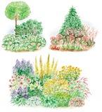 Garden design of flowered beds Stock Photos