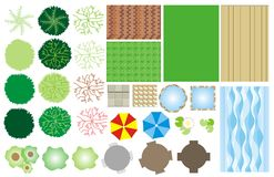 Garden design icons. Illustrations of icons that can be used in landscape garden design planning
