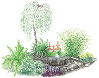 Garden design with little fountain. Watercolors hand painted pictures of garden design with little fountain and weeping birch Royalty Free Stock Images