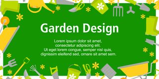Garden Design poster with gardening tools on green background. Background for different designs: card, poster, sales, news. vector illustration
