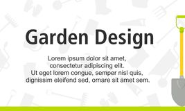 Garden Design poster with gardening tools on green background stock illustration