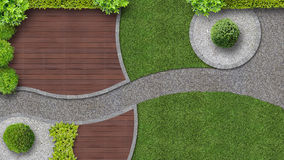 Garden design in top view with terrace Stock Image