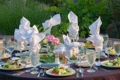 Garden Dinner Table Setting. Late afternoon sun caresses an elegant dinner table in a garden stock photography