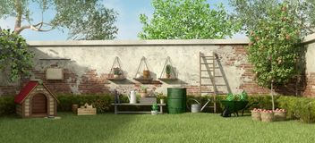 Garden with dog house and gardening tools. Garden with dog house ,trees and gardening tools - 3d rendering royalty free illustration