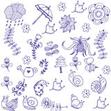 Garden of doodle art. Blue garden of doodle art with white backgrounds Royalty Free Stock Photos