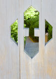 Garden door cut out shows new path Stock Images