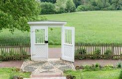 Garden door to Goethe`s garden house. Classicist garden door to Goethe`s garden house in Weimar stock photos