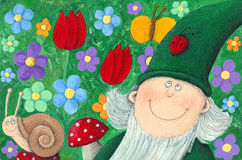 Garden dwarf. Acrylic Illustration of Garden dwarf Stock Photography