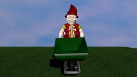 Garden dwarf with wheelbarrow from the front. Garden dwarf with wheelbarrow from front on green grass with cloudy sky. 3d illustration stock illustration