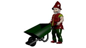 Garden dwarf with wheelbarrow, isoliert. Garden dwarf with wheelbarrow isolated on white background. 3d illustration royalty free illustration