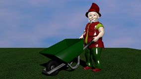 Garden dwarf with wheelbarrow. From the side view on green lawn. Great for gardening use stock illustration