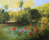 Garden of Eden. An oil painting on canvas of the formal gardens with the lake in Parc de la Ciutadella, Barcelona in the last days of the summer with vibrant red Royalty Free Stock Photography