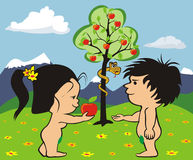 Garden of eden - adam and eve. The first people commit the original sin Stock Photos