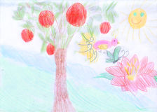 Garden of Eden. Scanned a children's drawing. Stock Photo