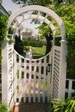 Garden in Edgartown, MA. Garden gate in Edgartown Massachusetts on Martha's Vineyard Stock Photo