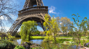 Garden by Eiffel Tower in Spring Royalty Free Stock Photo