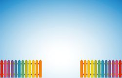 Garden Entrance Colored Fence. Garden entrance lined with two rainbow colored jolly fences - vector illustration on blue sky gradient background and luminous Stock Image