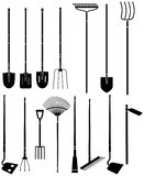 Garden equipment 4. Black and white silhouettes of a garden equipment Stock Photo
