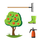 Garden equipment flat set vector. Stock Image