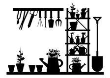 Garden  equipment illustration rake watering Stock Images