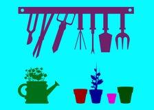 Garden  equipment illustration rake watering Stock Photography
