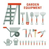 Garden equpment icons. Garden tools set in flat style, gray and red colors Royalty Free Stock Images