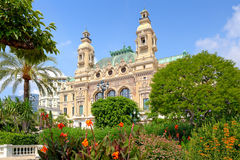 Garden and facade of Casino in Monte Carlo, Monaco. Royalty Free Stock Images