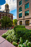 Garden and Faneuil Hall in Boston, Massachusetts. Stock Photo