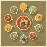 Garden Farm icons and agriculture infographics Stock Images