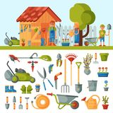 Garden farm instruments tools and farmer family near house various agricultural tools for gardening care colorful vector. Flat illustration. Rural farming hobby vector illustration