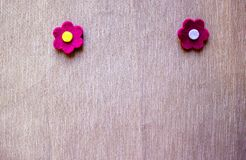 Garden felt flowers over grey background. royalty free stock photography