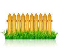 Garden fence with green grass. Vector Royalty Free Stock Photos