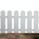 Garden fence and a wooden floor on a white Royalty Free Stock Images