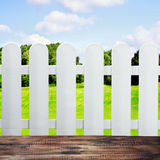 Garden fences and wooden floor Stock Photos