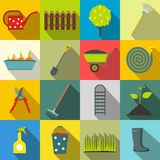 16 garden flat icons set. Color symbols with grass, watertights, watering can stock illustration