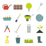 16 garden flat icons set. Color symbols with grass, watertights, watering can royalty free illustration