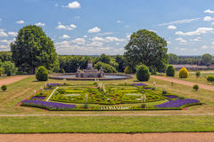 Garden and Flora Fountain, Witley Court, Worcestershire, England. Part of the beautiful gardens and the Flora fountain at Witley Court. Image taken from within Stock Photo