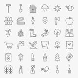 Garden Flower Line Art Design Icons Big Set Stock Photography