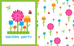 Garden flower party vector card template. Stock Images