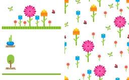 Garden flower party vector card template Royalty Free Stock Photos