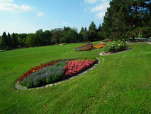 Garden and Flowerbeds. Flowerbeds in an arboretum, Brno city, czech. Photo taken on: 2012 royalty free stock image